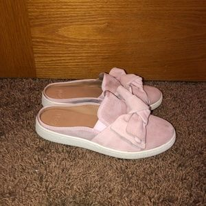 UGG Luci Bow Suede Slip On Sneakers 8 Light Pink